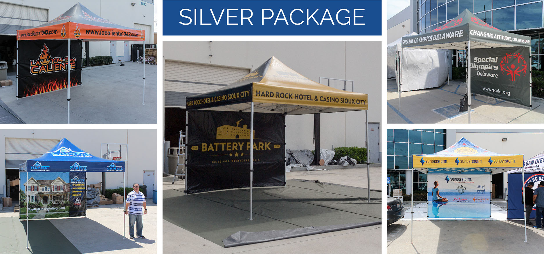 What are canopy packages in general? Well our canopy packages are customized pop up canopies that we have built with custom printing and accessories to ... & What is the Silver Package?