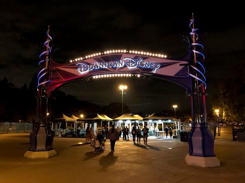 security tents used from parking lot into downtown disney
