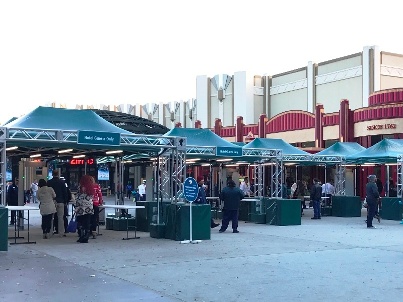 disneyland security tents from downtown disney to downtown disney hotel