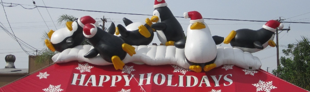 Happy Holidays Tent with Inflatable Penguins